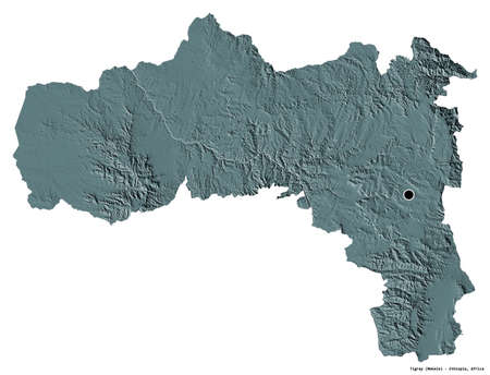 Shape of Tigray, state of Ethiopia, with its capital isolated on white background. Colored elevation map. 3D rendering