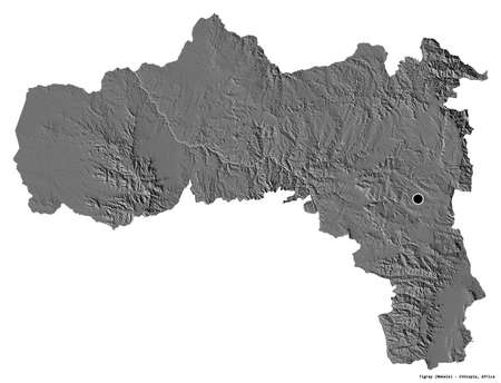 Shape of Tigray, state of Ethiopia, with its capital isolated on white background. Bilevel elevation map. 3D rendering