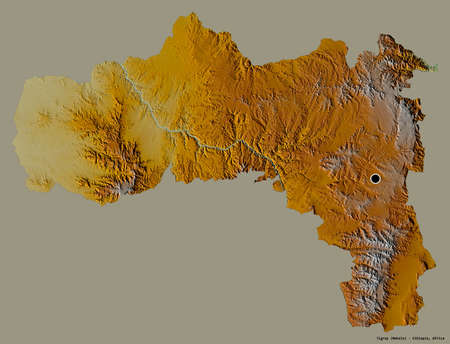 Shape of Tigray, state of Ethiopia, with its capital isolated on a solid color background. Topographic relief map. 3D rendering Standard-Bild