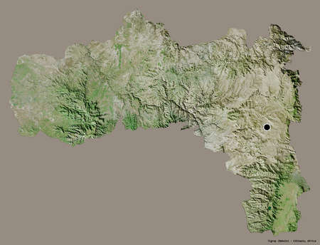Shape of Tigray, state of Ethiopia, with its capital isolated on a solid color background. Satellite imagery. 3D rendering