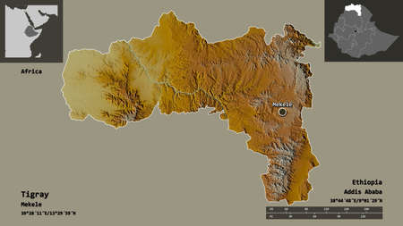 Shape of Tigray, state of Ethiopia, and its capital. Distance scale, previews and labels. Topographic relief map. 3D rendering Standard-Bild - 153778269