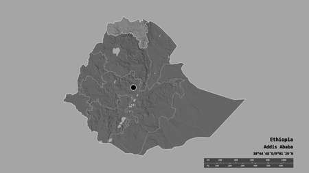 Desaturated shape of Ethiopia with its capital, main regional division and the separated Tigray area. Labels. Bilevel elevation map. 3D rendering