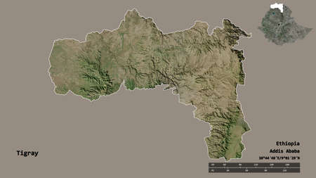 Shape of Tigray, state of Ethiopia, with its capital isolated on solid background. Distance scale, region preview and labels. Satellite imagery. 3D rendering
