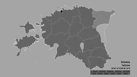 Desaturated shape of Estonia with its capital, main regional division and the separated Ida-Viru area. Labels. Bilevel elevation map. 3D rendering