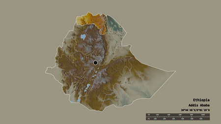 Desaturated shape of Ethiopia with its capital, main regional division and the separated Tigray area. Labels. Topographic relief map. 3D rendering Standard-Bild - 153778500
