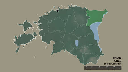 Desaturated shape of Estonia with its capital, main regional division and the separated Ida-Viru area. Labels. Topographic relief map. 3D rendering