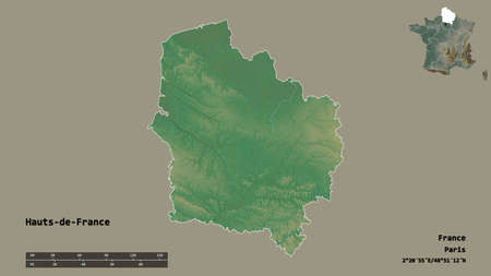 Shape of Hauts-de-France, region of France, with its capital isolated on solid background. Distance scale, region preview and labels. Topographic relief map. 3D rendering