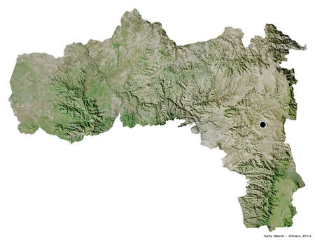 Shape of Tigray, state of Ethiopia, with its capital isolated on white background. Satellite imagery. 3D rendering Standard-Bild - 153779260