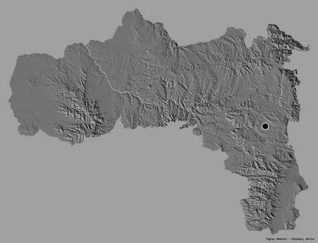 Shape of Tigray, state of Ethiopia, with its capital isolated on a solid color background. Bilevel elevation map. 3D rendering Standard-Bild