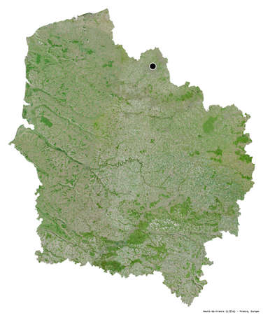 Shape of Hauts-de-France, region of France, with its capital isolated on white background. Satellite imagery. 3D rendering Stock Photo