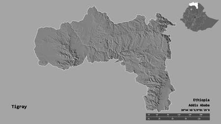 Shape of Tigray, state of Ethiopia, with its capital isolated on solid background. Distance scale, region preview and labels. Bilevel elevation map. 3D rendering