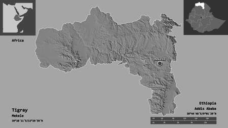 Shape of Tigray, state of Ethiopia, and its capital. Distance scale, previews and labels. Bilevel elevation map. 3D rendering Standard-Bild