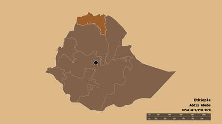 Desaturated shape of Ethiopia with its capital, main regional division and the separated Tigray area. Labels. Composition of patterned textures. 3D rendering