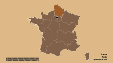 Desaturated shape of France with its capital, main regional division and the separated Hauts-de-France area. Labels. Composition of patterned textures. 3D rendering
