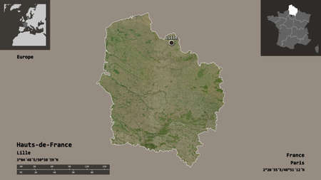 Shape of Hauts-de-France, region of France, and its capital. Distance scale, previews and labels. Satellite imagery. 3D rendering