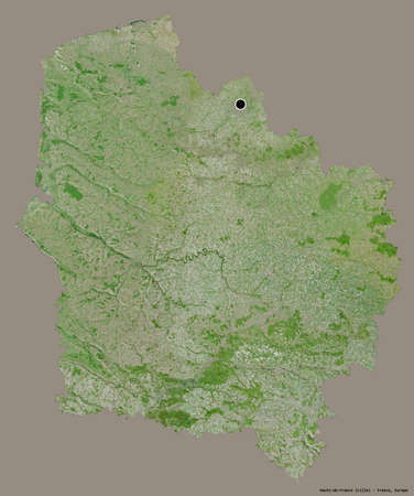 Shape of Hauts-de-France, region of France, with its capital isolated on a solid color background. Satellite imagery. 3D rendering