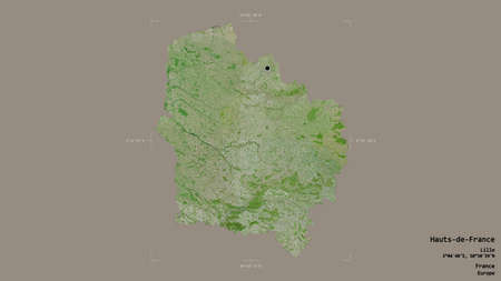 Area of Hauts-de-France, region of France, isolated on a solid background in a georeferenced bounding box. Labels. Satellite imagery. 3D rendering