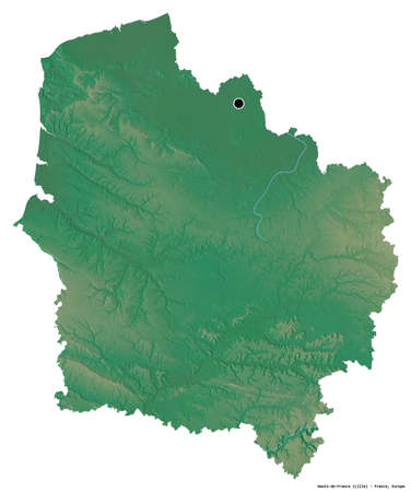 Shape of Hauts-de-France, region of France, with its capital isolated on white background. Topographic relief map. 3D rendering