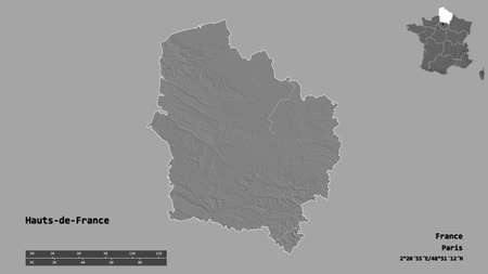 Shape of Hauts-de-France, region of France, with its capital isolated on solid background. Distance scale, region preview and labels. Bilevel elevation map. 3D rendering