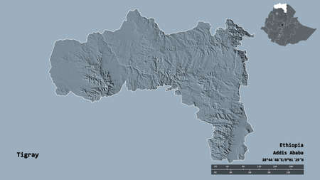 Shape of Tigray, state of Ethiopia, with its capital isolated on solid background. Distance scale, region preview and labels. Colored elevation map. 3D rendering Standard-Bild - 153780270