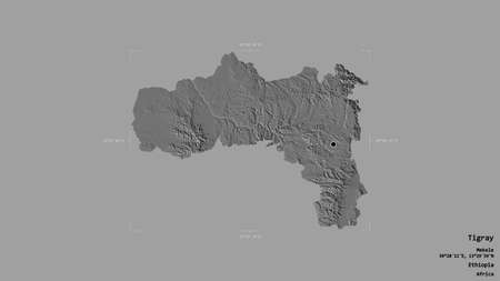 Area of Tigray, state of Ethiopia, isolated on a solid background in a georeferenced bounding box. Labels. Bilevel elevation map. 3D rendering