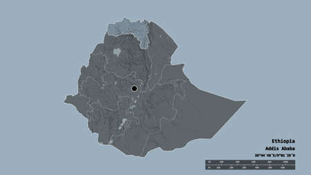 Desaturated shape of Ethiopia with its capital, main regional division and the separated Tigray area. Labels. Colored elevation map. 3D rendering Standard-Bild