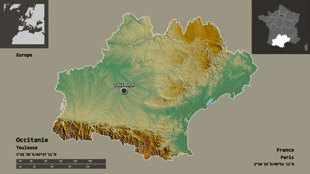 Shape of Occitanie, region of France, and its capital. Distance scale, previews and labels. Topographic relief map. 3D rendering