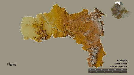Shape of Tigray, state of Ethiopia, with its capital isolated on solid background. Distance scale, region preview and labels. Topographic relief map. 3D rendering
