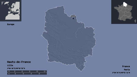 Shape of Hauts-de-France, region of France, and its capital. Distance scale, previews and labels. Colored elevation map. 3D rendering