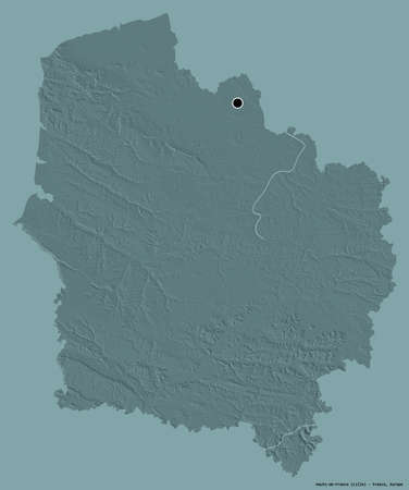 Shape of Hauts-de-France, region of France, with its capital isolated on a solid color background. Colored elevation map. 3D rendering Stock Photo