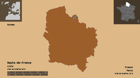 Shape of Hauts-de-France, region of France, and its capital. Distance scale, previews and labels. Composition of patterned textures. 3D rendering Stock Photo