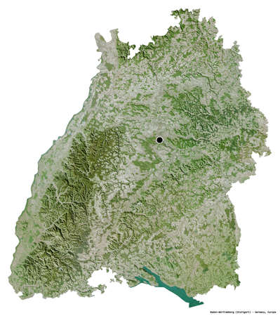 Shape of Baden-Württemberg, state of Germany, with its capital isolated on white background. Satellite imagery. 3D rendering Stock Photo