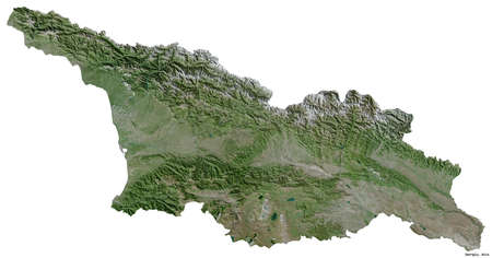 Shape of Georgia with its capital isolated on white background. Satellite imagery. 3D rendering