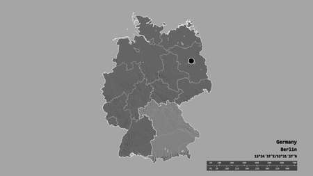 Desaturated shape of Germany with its capital, main regional division and the separated Bavaria area. Labels. Bilevel elevation map. 3D rendering