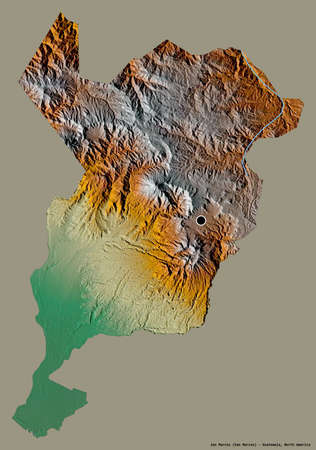 Shape of San Marcos, department of Guatemala, with its capital isolated on a solid color background. Topographic relief map. 3D rendering