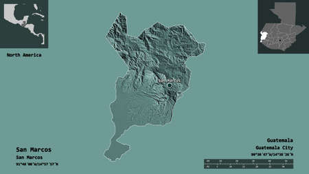 Shape of San Marcos, department of Guatemala, and its capital. Distance scale, previews and labels. Colored elevation map. 3D rendering