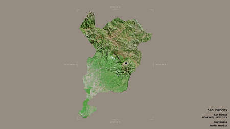 Area of San Marcos, department of Guatemala, isolated on a solid background in a georeferenced bounding box. Labels. Satellite imagery. 3D rendering