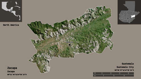Shape of Zacapa, department of Guatemala, and its capital. Distance scale, previews and labels. Satellite imagery. 3D rendering