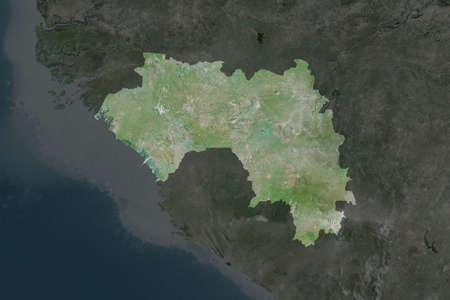 Shape of Guinea separated by the desaturation of neighboring areas. Satellite imagery. 3D rendering