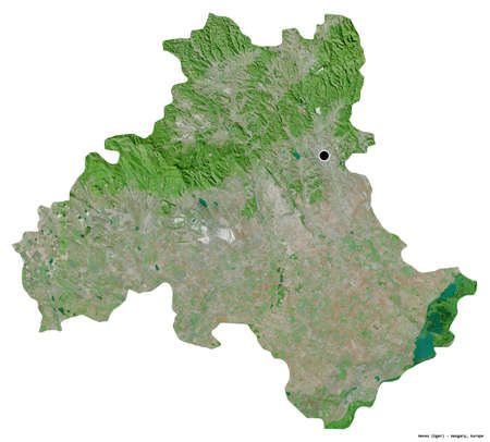 Shape of Heves, county of Hungary, with its capital isolated on white background. Satellite imagery. 3D rendering