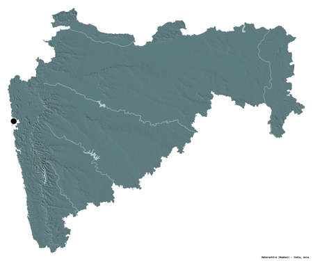 Shape of Maharashtra, state of India, with its capital isolated on white background. Colored elevation map. 3D rendering Stock Photo