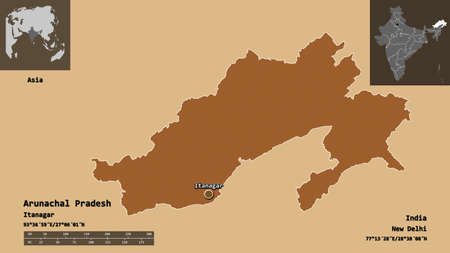 Shape of Arunachal Pradesh, state of India, and its capital. Distance scale, previews and labels. Composition of patterned textures. 3D rendering