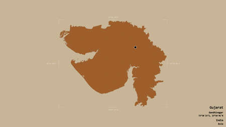 Area of Gujarat, state of India, isolated on a solid background in a georeferenced bounding box. Labels. Composition of patterned textures. 3D rendering Banco de Imagens