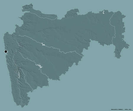 Shape of Maharashtra, state of India, with its capital isolated on a solid color background. Colored elevation map. 3D rendering Stock Photo