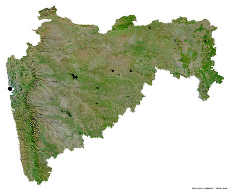 Shape of Maharashtra, state of India, with its capital isolated on white background. Satellite imagery. 3D rendering