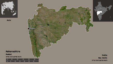 Shape of Maharashtra, state of India, and its capital. Distance scale, previews and labels. Satellite imagery. 3D rendering
