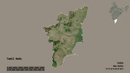 Shape of Tamil Nadu, state of India, with its capital isolated on solid background. Distance scale, region preview and labels. Satellite imagery. 3D rendering