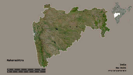 Shape of Maharashtra, state of India, with its capital isolated on solid background. Distance scale, region preview and labels. Satellite imagery. 3D rendering