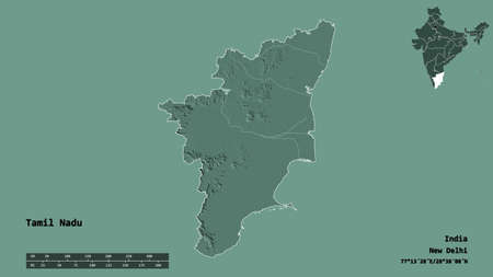 Shape of Tamil Nadu, state of India, with its capital isolated on solid background. Distance scale, region preview and labels. Colored elevation map. 3D rendering
