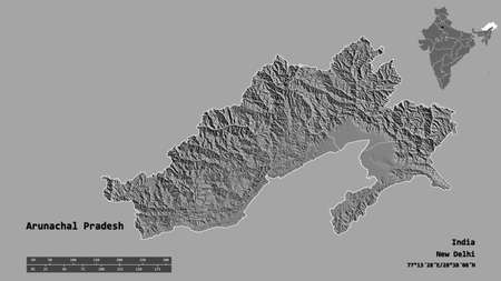 Shape of Arunachal Pradesh, state of India, with its capital isolated on solid background. Distance scale, region preview and labels. Bilevel elevation map. 3D rendering